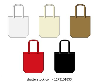 Tote bag / shopping bag / eco bag template illustration set