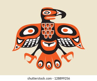 totem bird - indigenous art  stylization