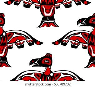 totem bird indigenous art stylization on with native ornament seamless pattern