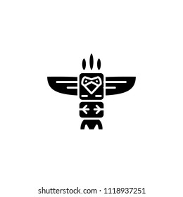 Totem black icon concept. Totem flat  vector symbol, sign, illustration.
