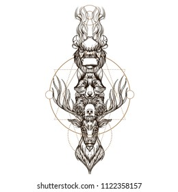Totem deer, bear, wolf and buffalo. Outline vector illustration isolated on white background for tattoos, posters, printing on T-shirts and other items.