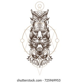 Totem eagle, wolf, fox and owl illustration for creating sketches of tattoos, printing on clothes, design of posters and leaflets.