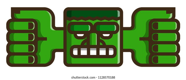 Totem: Flat Vector Icon. Green face with a wide mouth, large eyebrows and outgoing hands.