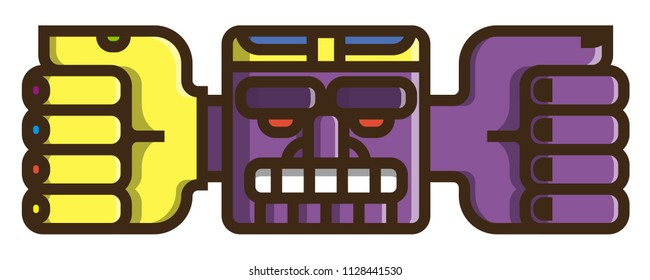 Totem: Flat Vector Icon. Purple face with crown, wide mouth, large eyebrows and outgoing hands. Hand in a yellow glove with precious stones.