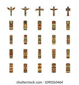 Totem icons set. Cartoon illustration of 25 Totem vector icons for web and advertising. Culture elements.