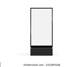 Totem light box mockup. Vector city format billboard, realistic totem lightbox vertical signage