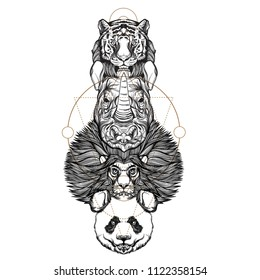 Totem lion, tiger, rhinoceros and panda. Outline vector illustration isolated on white background for tattoos, posters, printing on T-shirts and other items.