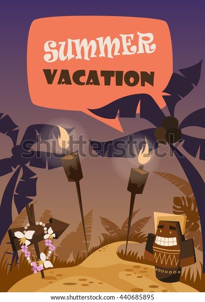 totem. summer. vacation. vector illustration. poster