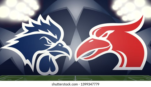 Tottenham Hotspur vs. Liverpool blue rooster and  red gannet/cormorant abstract mascot logos on a soccer field, final match, vector illustration