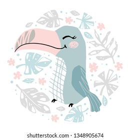 Toucan baby girl cute print. Sweet bird in round floral composition. Cool african animal illustration for nursery t-shirt, kids apparel, baby shower party invitation. Simple child summer design