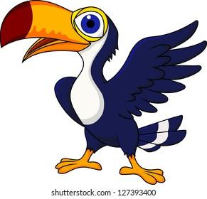 Toucan bird cartoon waving