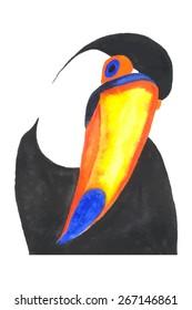 Toucan bird. Watercolor, vector