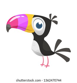 Toucan cartoon. Vector icon of toucan bird. Exotic colorful bird illustration
