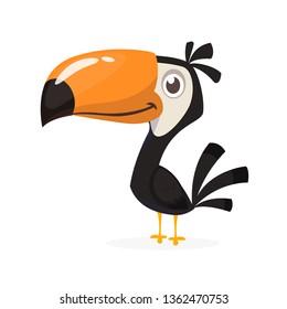 Toucan Cartoon. Vektorsymbol des Toucan-Vogels. Exotische bunter Vogelgrafik