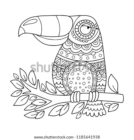 Toucan Coloring Page Illustration Kids Adults Stock Vector (Royalty ...