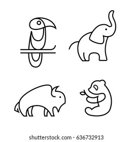 Toucan, elephant, buffalo and panda logo in line style. Vector outline animal logotype set isolated on white background.