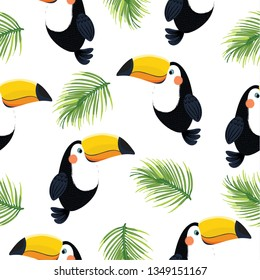 Toucan, exotic birds, tropical flowers, palm leaves, jungle leaves, bird of paradise.Cute cartoon character for children.Animal pattern.