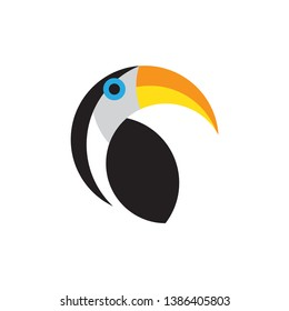 Toucan flat style vector logo template isolated on white background. Tropical bird icon. Toco Toucan bird sitting, posing Vector Illustration