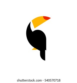 Toucan flat style vector logo template isolated on white background. Tropical bird icon