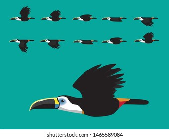 Toucan Flying Animation Cute Cartoon Vector Illustration