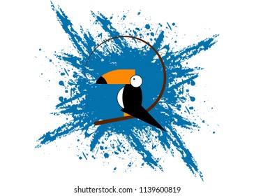 Toucan icon. Cartoon illustration of toucan vector icon for web. Toucan flat style vector logo template blue splatter background. Tropical bird icon isolated or white