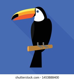 Toucan on tree icon. Flat illustration of toucan on tree vector icon for web design