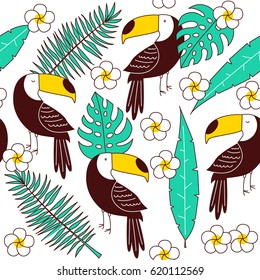 Toucan seamless patter, vector tile with palm leaves and orchid
