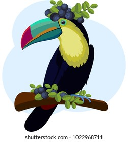 Toucan sitting on tree branch. On head and below are blueberries. Vector.