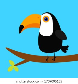 Toucan Toco on the tree brunch. Big yellow beak icon. Cute tropical bird. Zoo baby animal collection. Cartoon cute kawaii baby character. Flat design. White background. Isolated. Vector