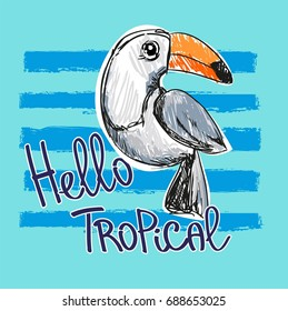 Toucan vector illustration. Children Print on T-Shirt. Tropical Illustration.