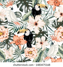 Toucans, parrots, hibiscus, orchid flowers, monstera palm leaves, white background. Vector floral seamless pattern. Tropical illustration. Exotic plants, birds. Summer beach design. Paradise nature