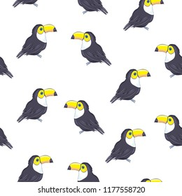 Toucans . Summer print, paper or textile design. Element of seamless pattern. Vector summer background.