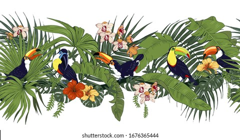 toucans and tropical plants and flowers, seamless border, vector illustration