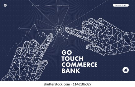 Touch the future analytics. Innovations systems commerce thinking and development technologies in automatics business systems. computers construction of analytical graphics. Future style.
