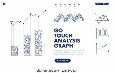 Touch the future arows analytics. Innovations robot systems hand and protection in innovations systems. Сomputers construction of analytical graphics. Abstract illustration on analysis structure.