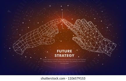 Touch the future. Innovations systems intuitive thinking and development technologies in automatics cyborg systems and computers industry. Future technologies geometry style.