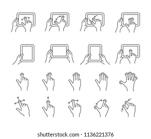 Touch gestures icon set for a mobile application. Gesture symbols for user interface. Vector illustration.