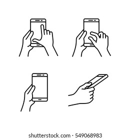 Touch gestures icon set for smartphone with touchscreen. Simple outlined vector icons for a mobile app and touch gesture user interface guide or manual