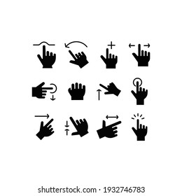 Touch Gestures Icon set. Touch Gestures icon Vector Illustration Template For Web and Mobile