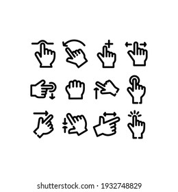 Touch Gestures line Icon set. Touch Gestures icon Vector Illustration Template For Web and Mobile