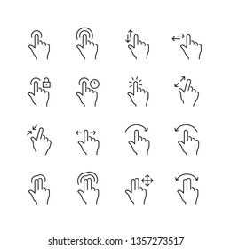 Touch gestures related icons: thin vector icon set, black and white kit