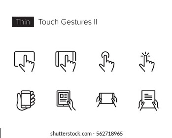 Touch Gestures Thin line Vector Icons set