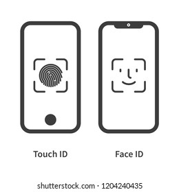Touch id and face id on mobile device vector icon
