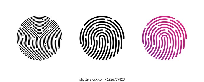 Touch id icons set. Fingerprint icon collection. App id. Owner identification,  verification. Password concept. Authorization concept. Phone password. Touch identification. Vector graphic. EPS 10