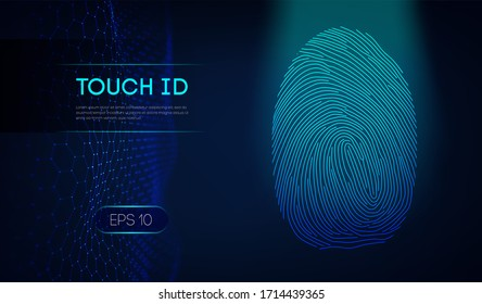 Touch id on dark blue background. Biometric authorization. EPS 10.