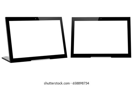 Touch screen advertising player. Tablet computers with blank screens isolated. Vector illustration
