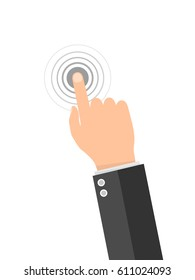 Touch screen finger icon. Finger to touch screen. Vector illustration. Hand to touch of surface display.