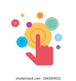 Touch screen finger - vector logo template concept illustration. Human hand on surface display. Modern mobile technology sign. Abstract symbol. Design element