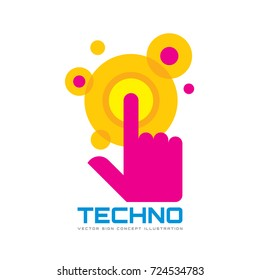 Touch screen finger - vector logo template concept illustration. Human hand on surface display. Modern mobile technology sign. Abstract symbol. Design element.