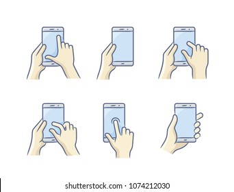 Touch screen gesture icon for smartphone. Vector icon for a mobile app user interface or manual. Smartphone screen with gesture. Hand holding smartphone, finger touching screen. Vector illustration.